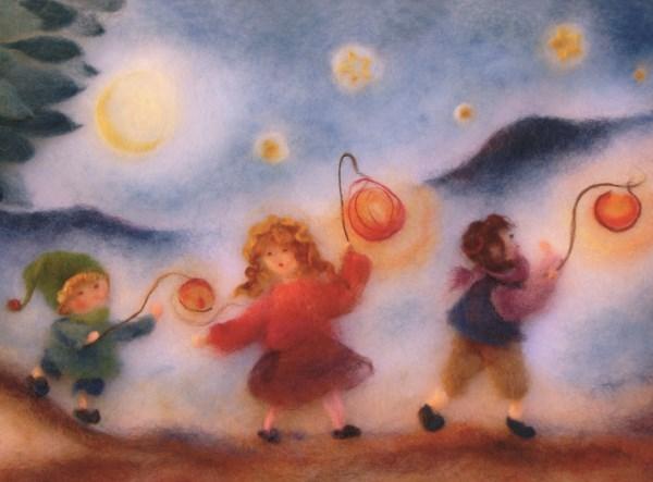 Postcard: Children with lantern