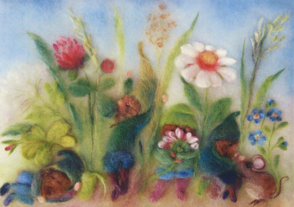 Postcard: Dwarf in the meadow