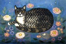 Folded card: Tabby in a Starlit Garden
