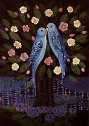 Postcard: Love-birds in a flowering Tree