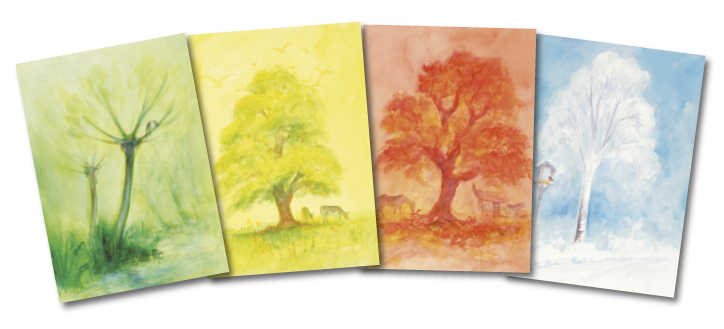 Seasonal Trees: set of 12 postcards