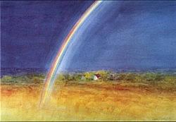 Late Summer Rainbow: Large folded card