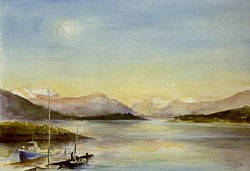 Postcard: The setting sun over the Ballachulish Bridge