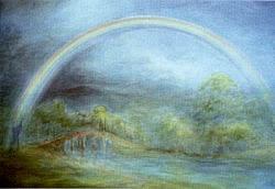Postcard: A Rainbow over the bridge