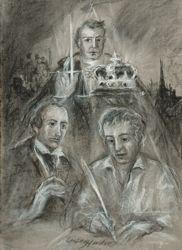 Print: Kaspar and his protectors: Daumer and Sauerbach