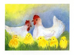 Postcard: Chickens in the Meadow