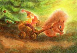 Postcard: Dwarf and Squirrel