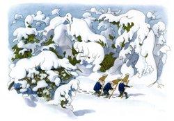 Postcard: Gnomes in winter wonderland
