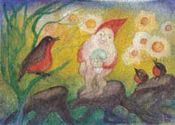 Postcard: Three birds with Gnome