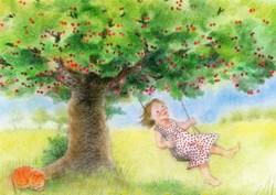 Postcard: Girl on swing