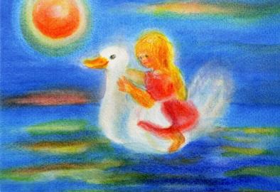Postcard: Girl riding on duck