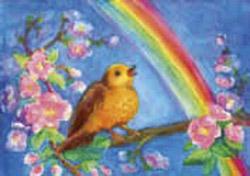 Postcard: Bird with Rainbow
