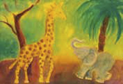 Postcard: Giraffe and Elephant