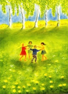 Postcard: Children dancing in Spring