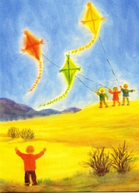 Postcard: Flying kites