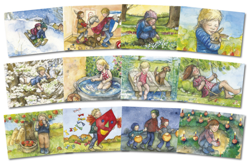Set of 12 postcards by Sanne Dufft for the Months of the Year