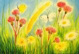 Postcard: Flowers and Butterflies