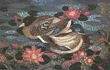 Postcard: Sacred Ducks resting in a Lotus Pool