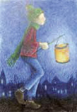 Postcard: Boy with lantern
