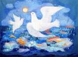 Folded card: The Doves of St. Columba, Iona