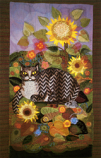 Folded card: October Sunflowers with Tabby Cat