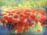 Field of red poppies: Extra large folded card
