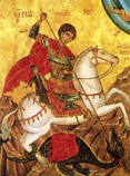 Postcard: Saint George fighting the dragon