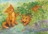 Postcard: Foxes playing