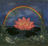 Postcard: Rainbow and Pink Lotus