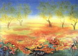 Landscape of yellow and orange poppies: Large folded card