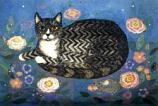 Folded card: Tabby in a Starlit Garden