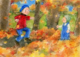 Postcard: Playing with leaves