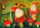 Postcard: Gnomes on toadstools