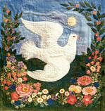 Postcard: Dove in a Rose Garden