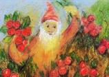 Postcard: Dwarf with cranberries