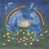 Postcard: Blue-birds over the rainbow