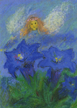 Postcard: Elf with Gentian Flower