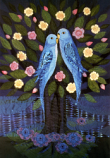 Folded card: Love-birds in a flowering Tree