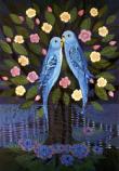 Folded card: Love-birds in a flowering Tree