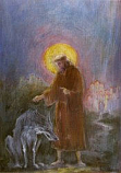 Postcard: St Francis and the Wolf Gubbio