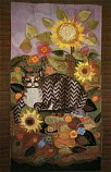 Postcard: October Sunflowers with Tabby Cat